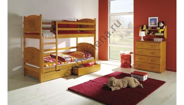Деревянная двухъярусная кровать - Тортилла