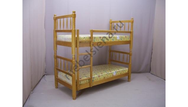Деревянная двухъярусная кровать - Точенка