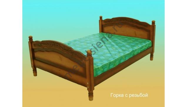 Двуспальная кровать Горка с резьбой