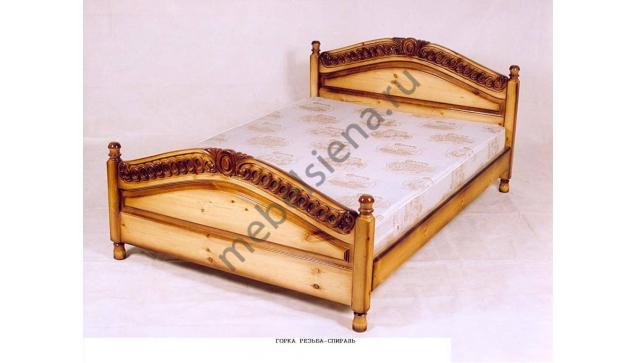 Двуспальная кровать Горка резьба-спираль