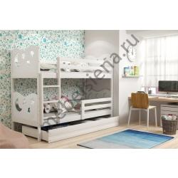 Деревянная двухъярусная кровать - Звезды