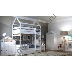 Деревянная двухъярусная кровать - Домик Эко