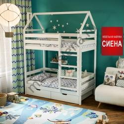 Деревянная двухъярусная кровать - Домик Дамбо