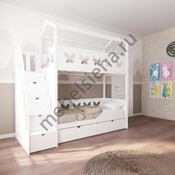 Деревянная двухъярусная кровать - Домик Бабочка 2