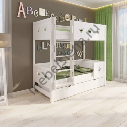 Деревянная двухъярусная кровать - Корона