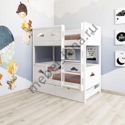 Деревянная двухъярусная кровать - Машина 2