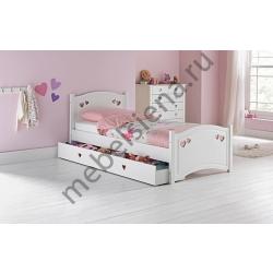 Детская деревянная кровать Сердечки