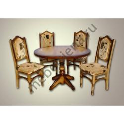 Деревянный стол 4 ноги со стульями