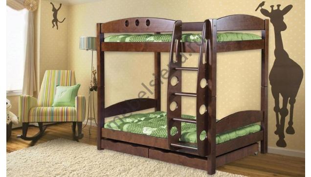 Деревянная двухъярусная кровать - Жирафик