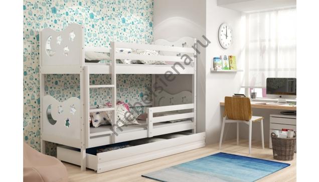 Двухъярусная кровать Звезды деревянная