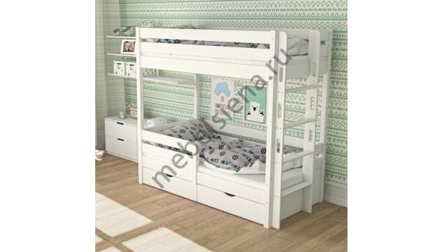Двухъярусная кровать Дамбо 2 деревянная
