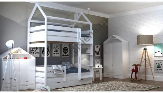 Кровать домик из массива двухъярусная Эко
