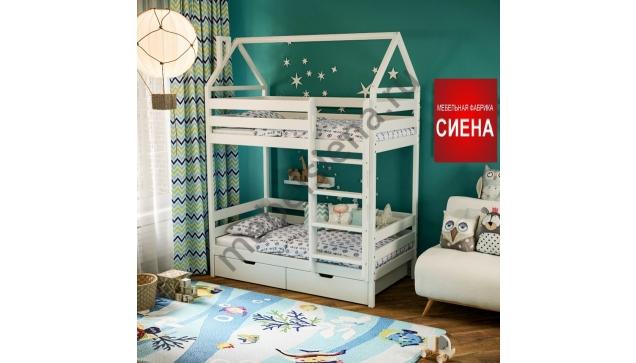 Кровать домик для мальчика деревянная двухъярусная Дамбо