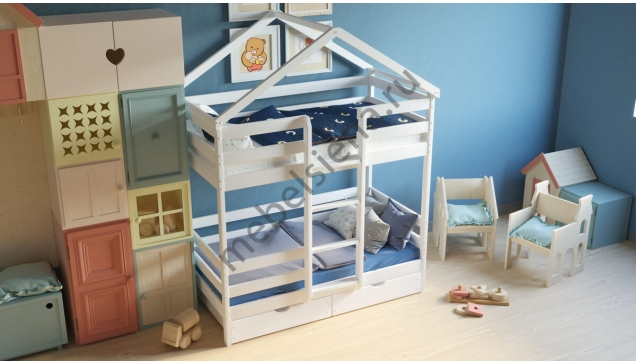 Кровать домик из массива двухъярусная Сказка