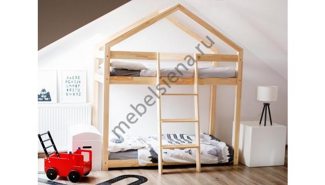 Кровать домик для мальчика деревянная двухъярусная Сиена