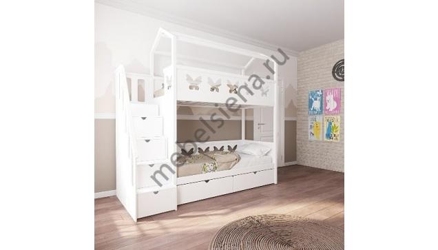 Кровать домик для девочки деревянная двухъярусная Бабочка 2