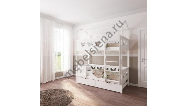 Кровать домик для девочки деревянная двухъярусная Бабочка
