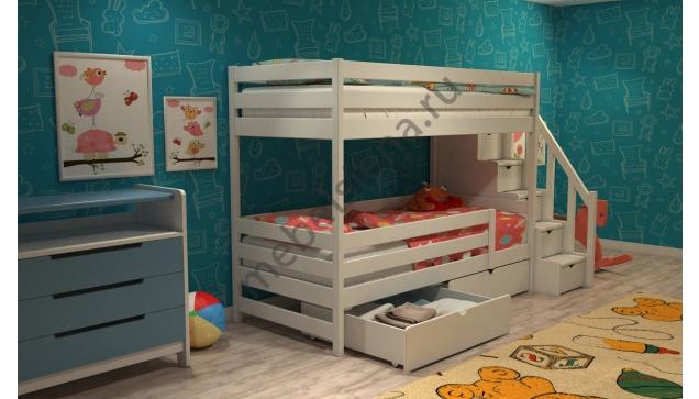 Двухъярусная кровать Жасмин деревянная