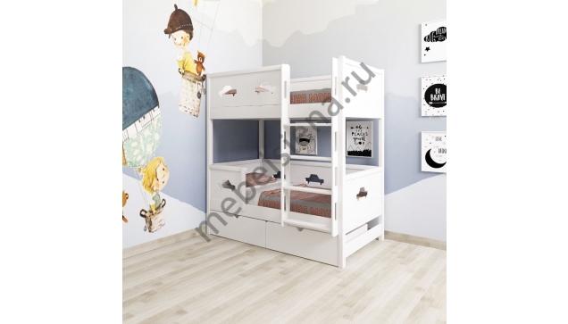 Двухъярусная кровать Машина 2 деревянная