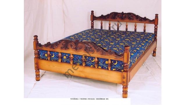 Односпальная кровать Точенка Глория-резьба объемная №1