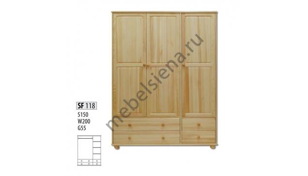 Шкаф Эко 3-х створчатый + 4 ящика ш-150, в-200, г-55